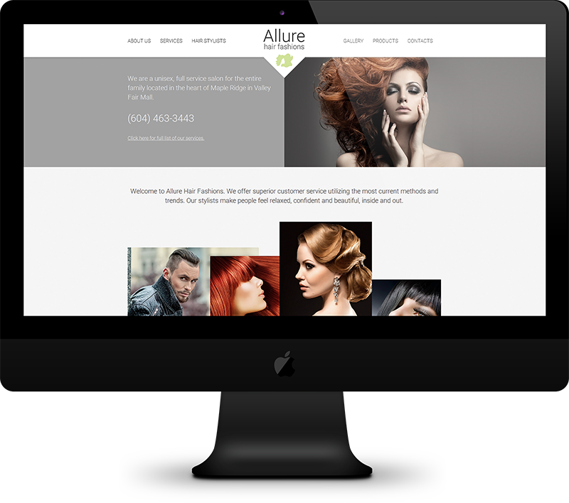 Responsive Website Design, Custom Graphic Template, Content Management System for Allure Hair Fashions.