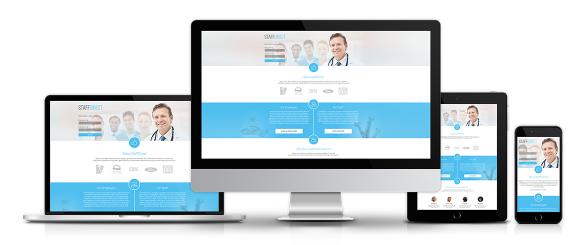 Website Design, Custom Graphic Template, Database Structure and CMS for StaffDirect.