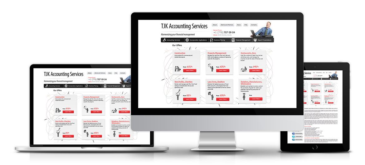 Small Business Website for TJK Financial Services.