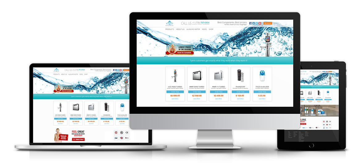 Website Design, Product Catalog, E-Commerce Module, CMS and PayPal Integration for Tyent Canada.